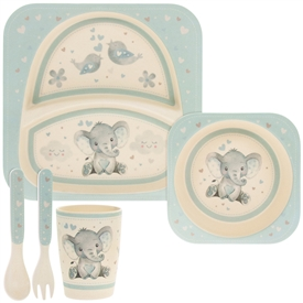 Blue and Cream Bamboo Baby Dinner Set with Bird & Ellie Design
