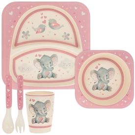 Pink and Cream Bamboo Baby Dinner Set with Bird & Ellie Design