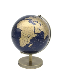 Gold And Blue Globe 19cm