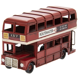 Small Vintage London Bus in Ornament 17cm