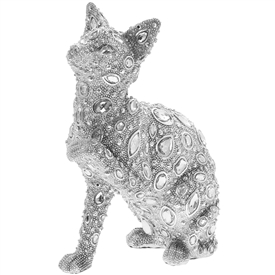 Silver Decorative Cat with a Diamante Design