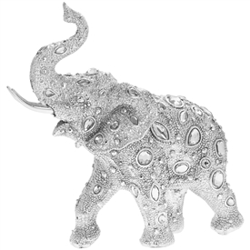 Silver Decorative Elephant with a Diamante Design