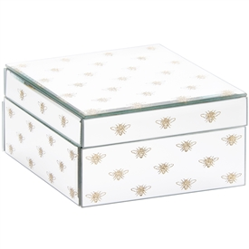 White Jewellery Box with Glitter Bees Design (Small)