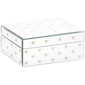 White Jewellery Box with Glitter Bees Design (Large)
