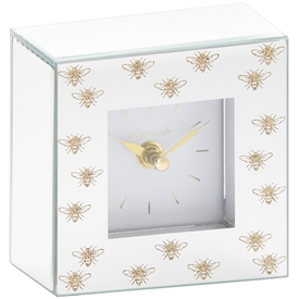 White Glass Clock with Glitter Bees Design