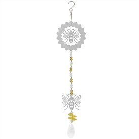 Hanging Silver Foil Wind Spinner With a Busy Bee Design
