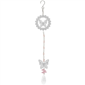Hanging Silver Foil Wind Spinner With a Butterfly Design