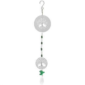 Hanging Silver Foil Wind Spinner With a Tree Of Life Design