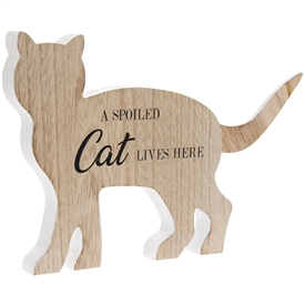 Wooden Cat Plaque with 'A Spoiled Cat Lives Here' Printed on It