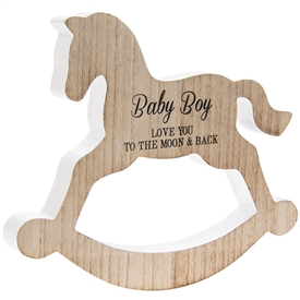 Rocking Horse Plaque Baby Boy 20cm