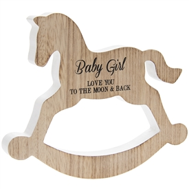 Rocking Horse Plaque Baby Girl 20cm