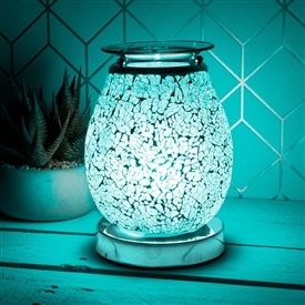 Glass Mosaic Touch Aroma Lamp - Teal Blue