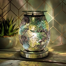 Glass Mosaic Touch Aroma Lamp - Onyx Eggshell