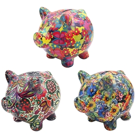 Floral Piggy Bank 3 Assorted