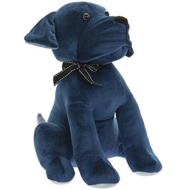 Velveteen Blue Dog Doorstop