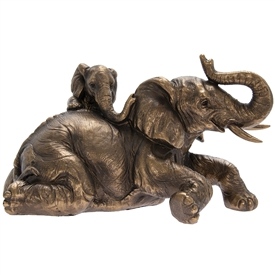 Bronzed Elephant With Calf