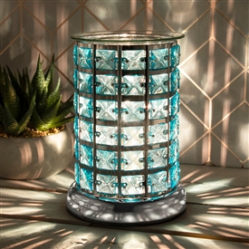 Crystal Touch Sensitive Aroma Lamp Silver & Teal