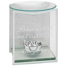 Silver Glitter Home Sentiments Oil Burner