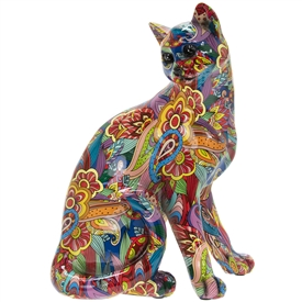 Groovy Art Sitting Cat Ornament
