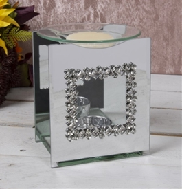 Mirror Diamante Oil Burner Square
