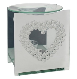 Mirror Crystal Oil Burner Heart