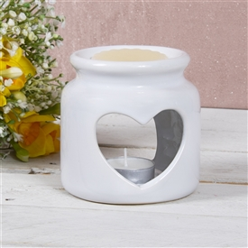 White Round Heart Cut Out Oil Burner