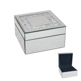 Square Mirror Crystal Jewellery Box