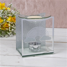 Silver Rainbow Glass Wax Melter / Oil Burner