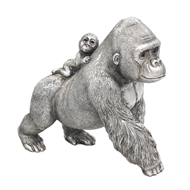 Silver Gorilla With Baby