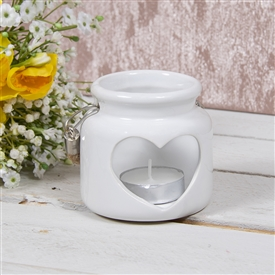 Heart Candle Holder White 8cm
