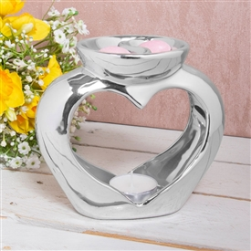 Silver Ceramic Heart Double Dish Oil Burner