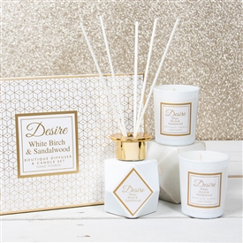 White Diffuser & Candle Set White Birch & Sandalwood