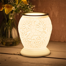 April Large Porcelain Etched Aroma Lamp - Honeycomb