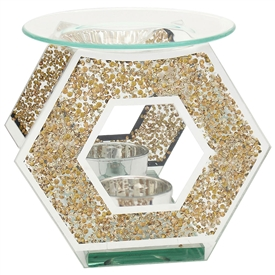 Gold Crystal Hexagon Oil/Wax Warmer