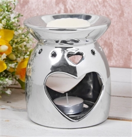 Silver Heart Oil Burner / Wax Melter 13cm