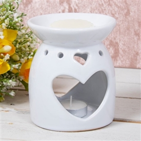 White Heart Oil Burner / Wax Melter 13cm