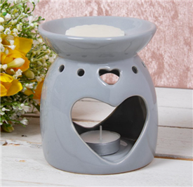 Grey Heart Oil Burner / Wax Melter 13cm