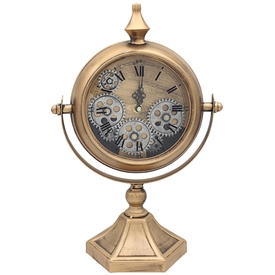 Mantel Cog Clock Gold And Silver 39cm