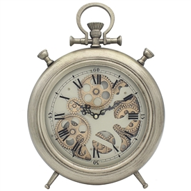 Mantel Cog Clock Silver And Gold 39cm