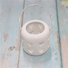 Ceramic White Lantern With Cut Out Hearts Design 8cm