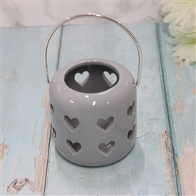 Ceramic Grey Lantern With Cut Out Hearts Design 8cm