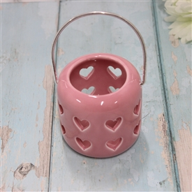 Ceramic Pink Lantern With Cut Out Hearts Design 8cm
