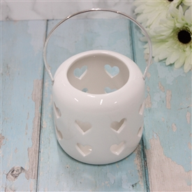 Ceramic White Lantern With Cut Out Hearts Design 10cm