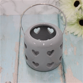 Ceramic Grey Lantern With Cut Out Hearts Design 10cm