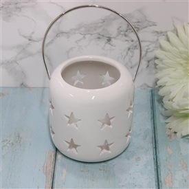 Ceramic White Lantern With Cut Out Stars Design 10cm