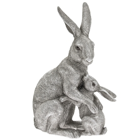 Silver Hare And Baby Hugging Ornament 65cm