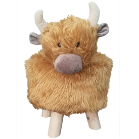 Plush Children's Stool Highland Cow