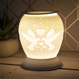 Large Porcelain Etched Aroma Lamp � Love Birds