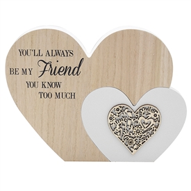 Sentiments Double Heart Plaque Friend 22cm