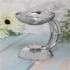 Standing Silver Oil Burner / Wax Melter 13cm